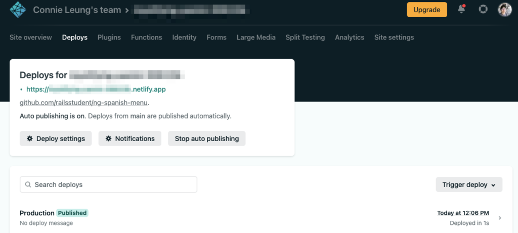 deploy netlify function to production